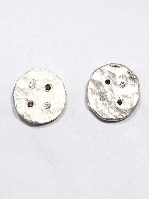 Sterling Silver Diamond Button Earrings