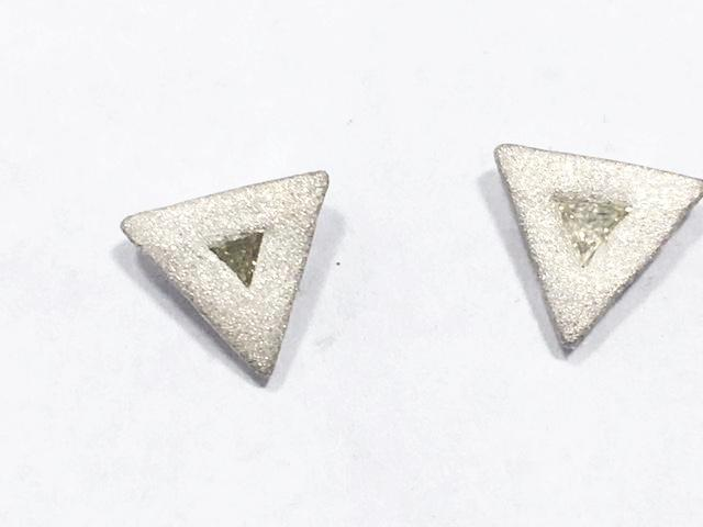 Sterling Silver Triangle Diamond Studs