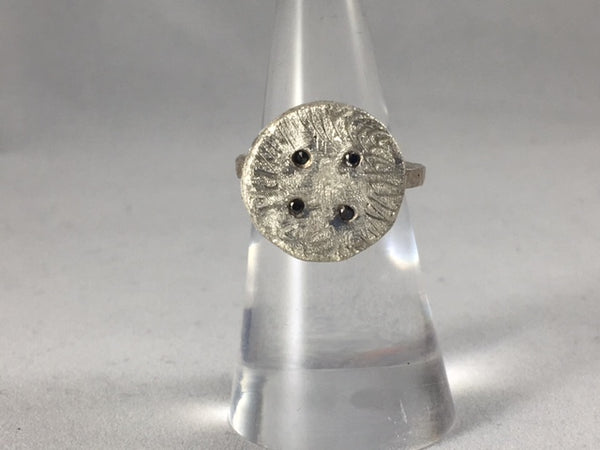 Sterling Silver Button Ring