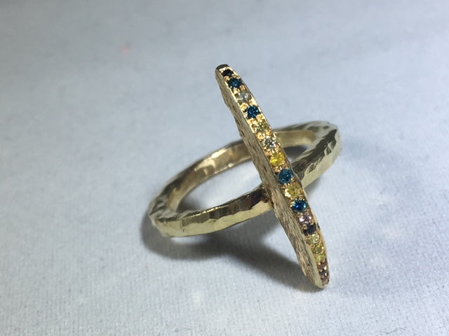 Gold Shark Fin Ring With Diamonds