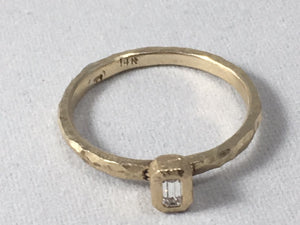 Gold and Diamond Emerald Cut Ring .10 CT