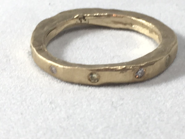 Gold Matte Band with Yellow and White Diamonds