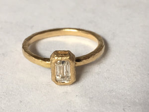 Gold and Emerald Cut Diamond Ring .38 CT
