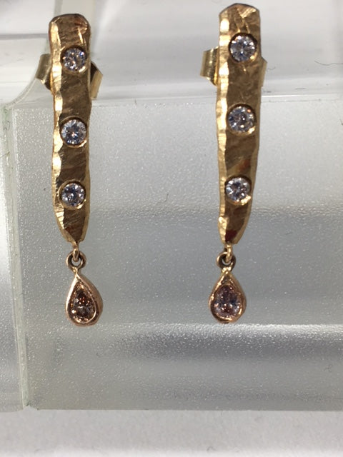 Gold Drop Earrings with White and Pink Diamonds