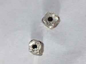 Sterling Silver Square Earrings with Black Diamonds