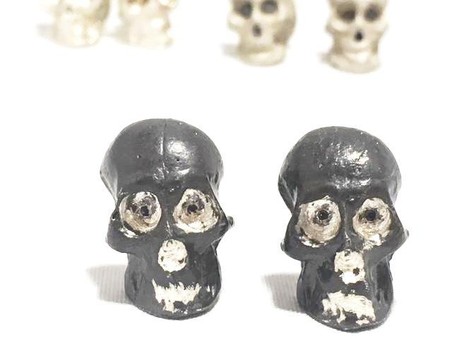 Sterling Silver Oxidized Distressed Diamond Skull Cufflinks
