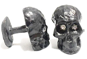 Sterling Silver Oxidized Diamond Skull Cufflinks