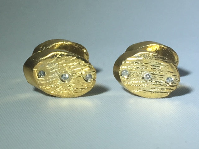 Sterling Silver Gold Plated  Oval Diamond Cufflinks