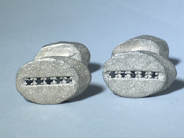Sterling Silver Sandblasted Oval Diamond Cufflinks