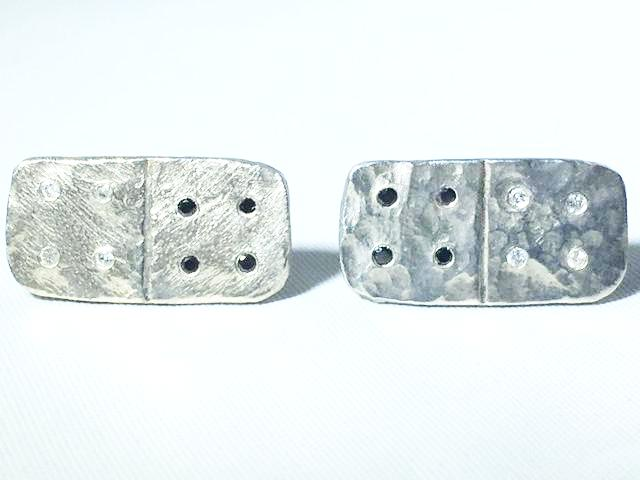 Sterling Silver Diamond Domino Cufflinks