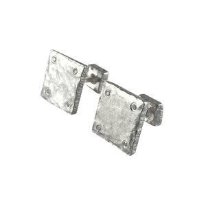 Sterling Silver Square Diamond Cufflinks