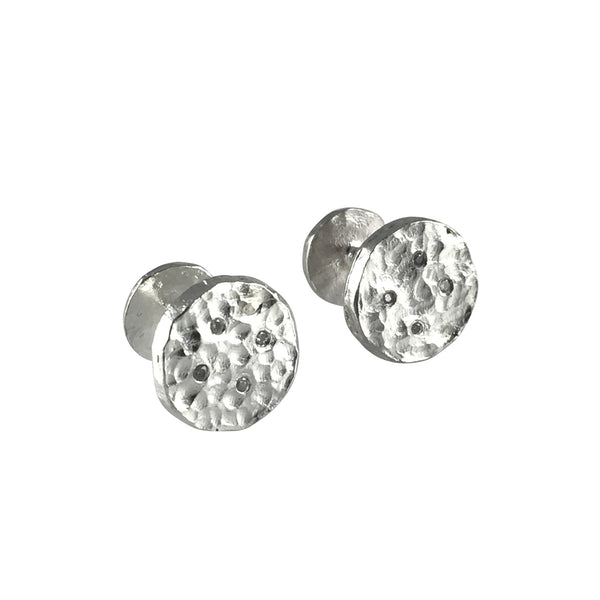 Clear Diamond Button Cufflinks