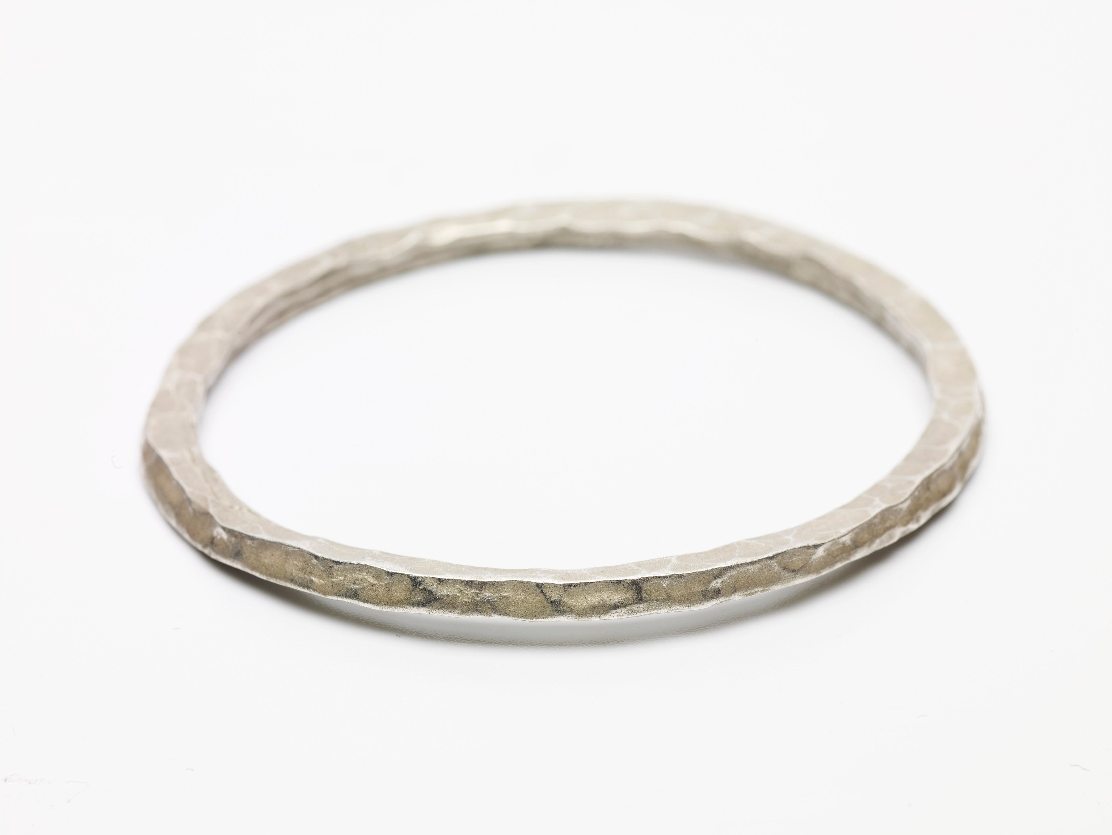 Sterling Silver Thin Hammered Bangle