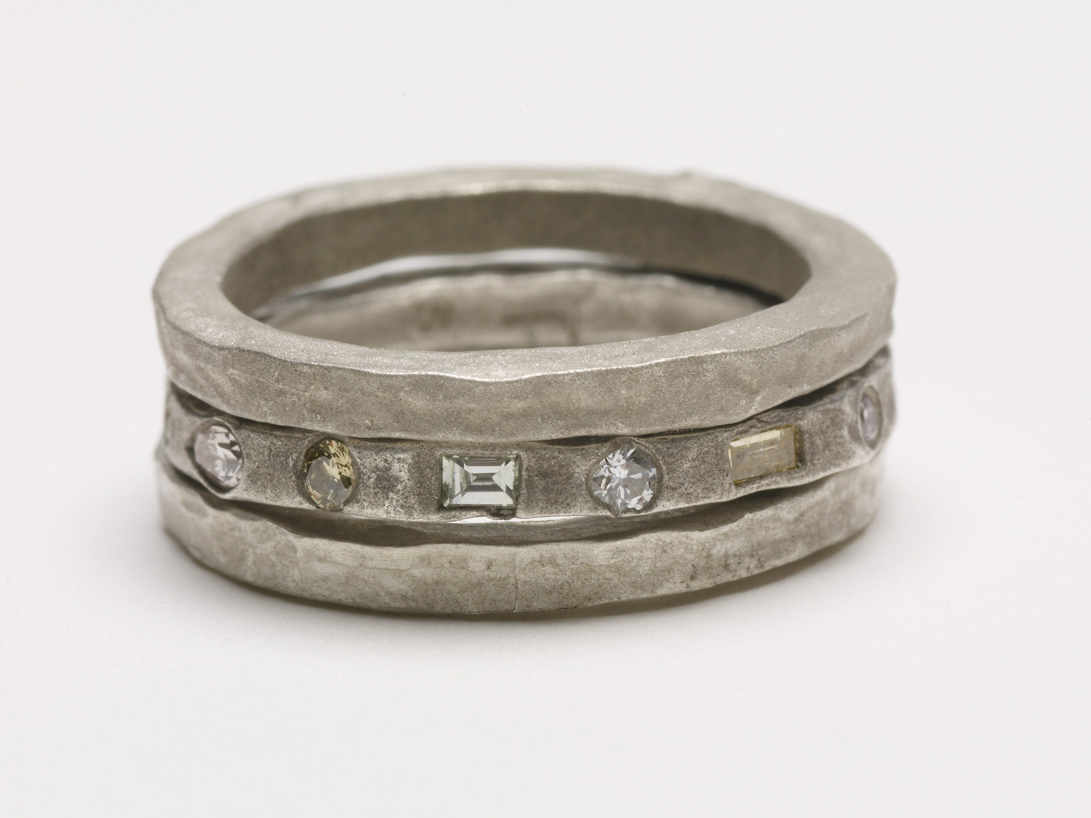 Sterling Silver Sandblasted Diamond Ring Stack