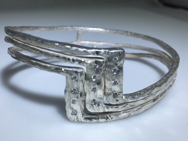 Sterling Silver Diamond 3 Step Cuff