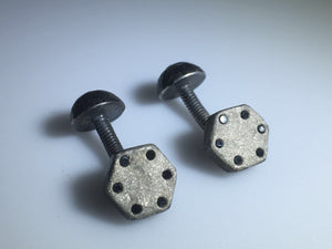 Sterling Silver Diamond Screw Cufflinks