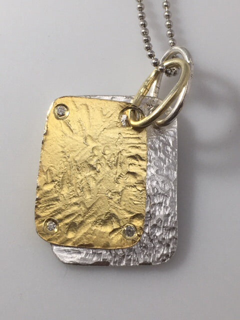 Sterling Silver Diamond Double Dog Tag