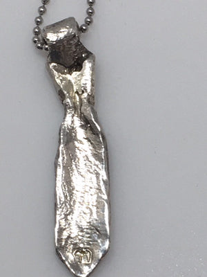 Sterling Silver Small Tie With Canary Diamonds
