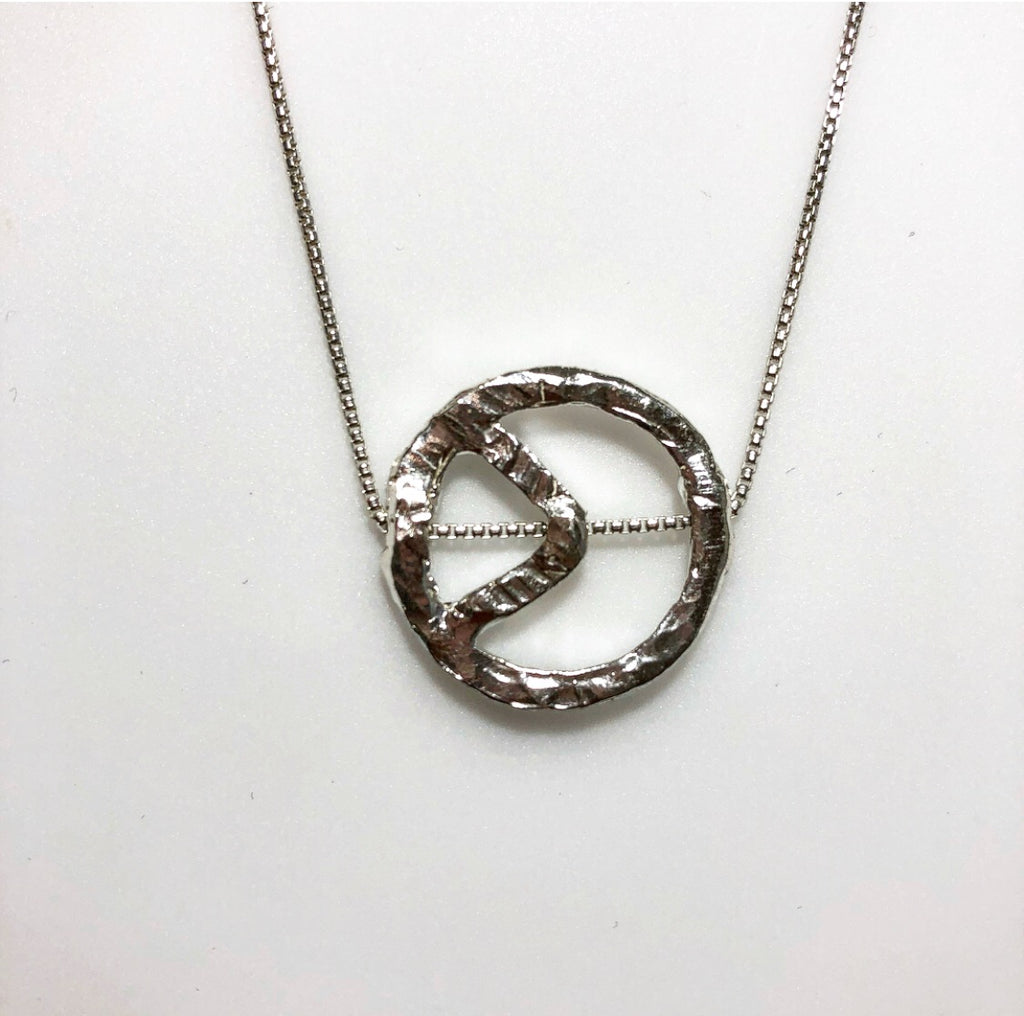 Sterling Peace Sign Pendant