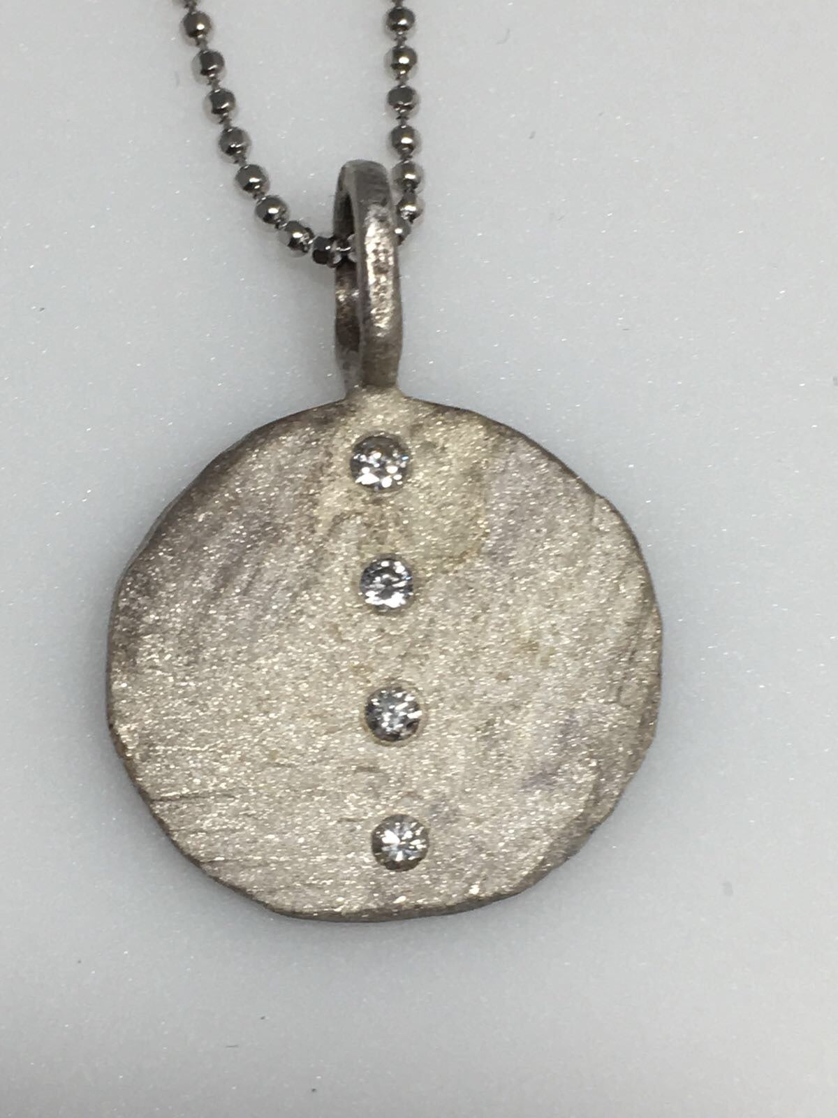 Sterling Silver Circle Diamond Pendant