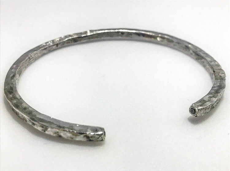 Sterling Silver Open Diamond Bangle