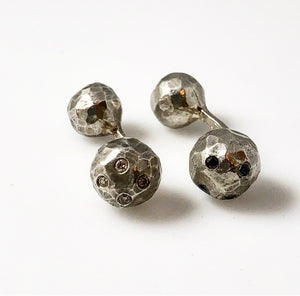 Sterling Silver Diamond Studded Oddball Cufflinks