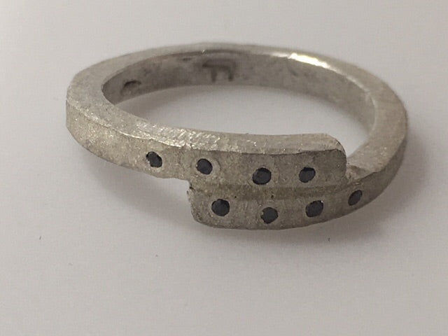 Sterling Silver Diamond Step Ring