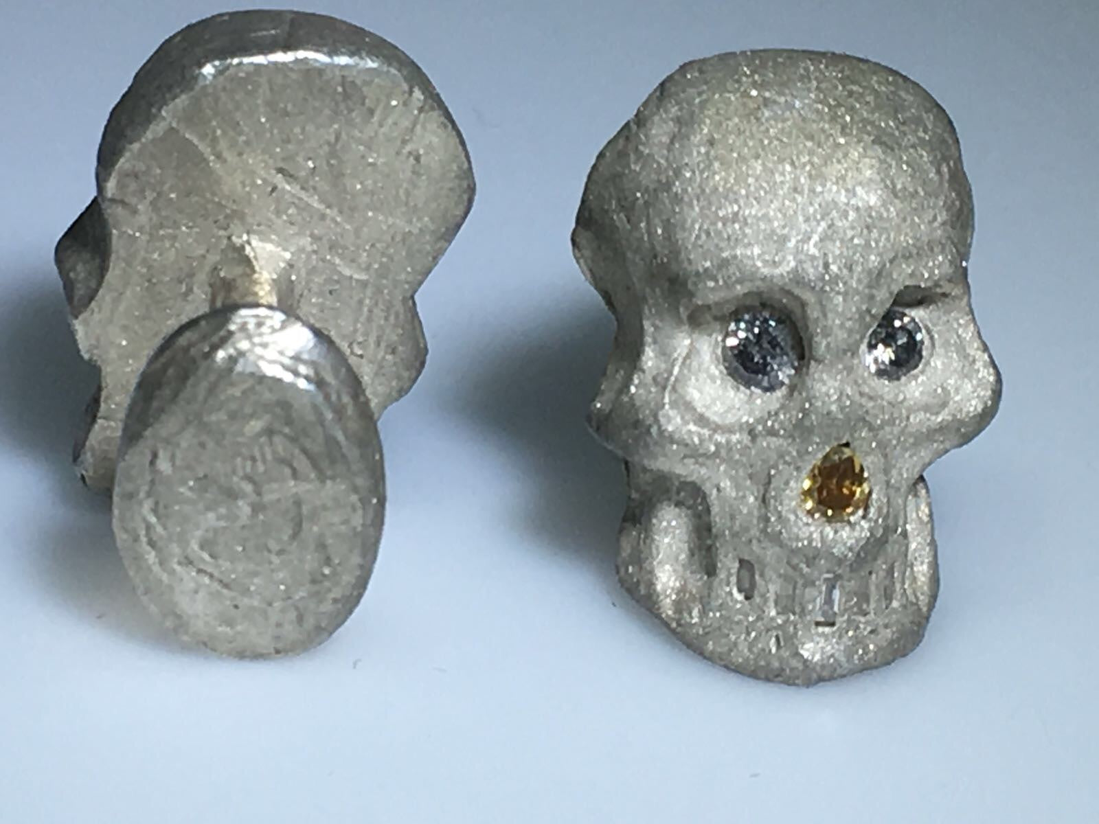 Sterling Silver Diamond Skull Cufflinks