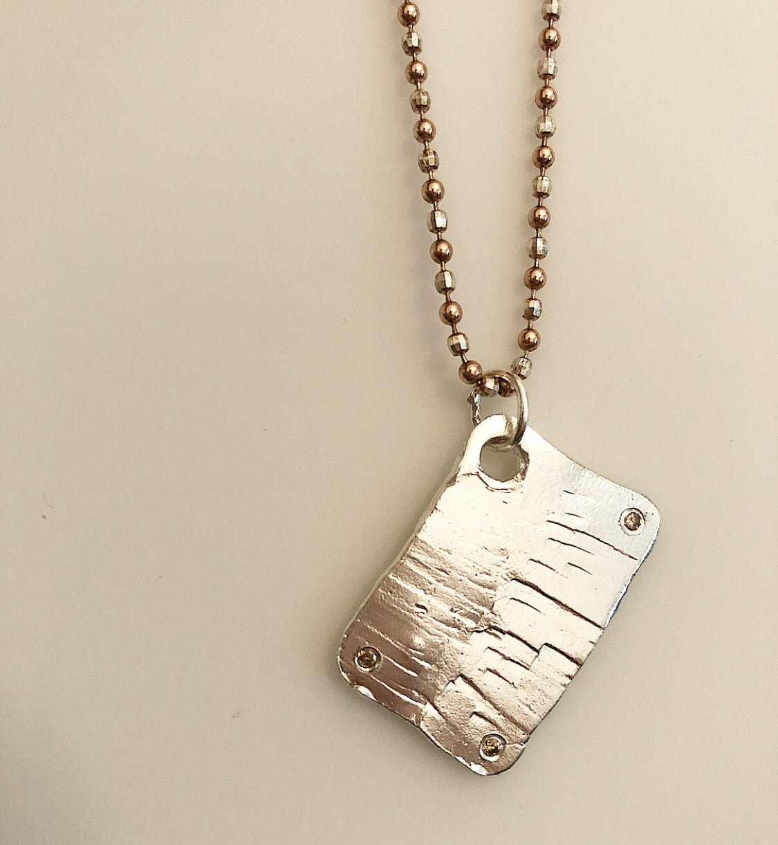 Sterling Textured Diamond Dog Tag