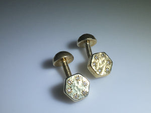 Gold Plated Sterling Silver Diamond Screw Cufflinks