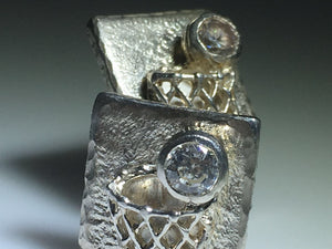 Sterling Silver Diamond BasketBall Cufflinks