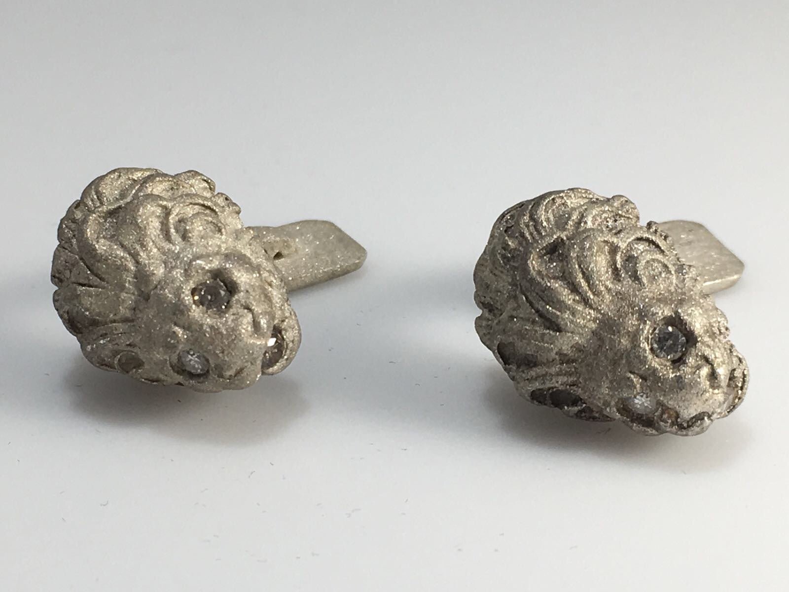 Sterling Silver Diamond Lion Cufflinks