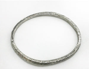 Sterling Silver Large Lines Bangle