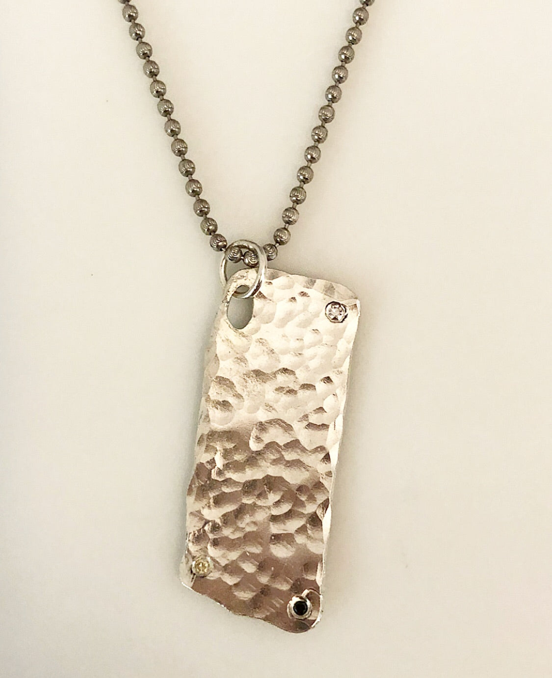 Sterling Hammered Diamond Dog Tag