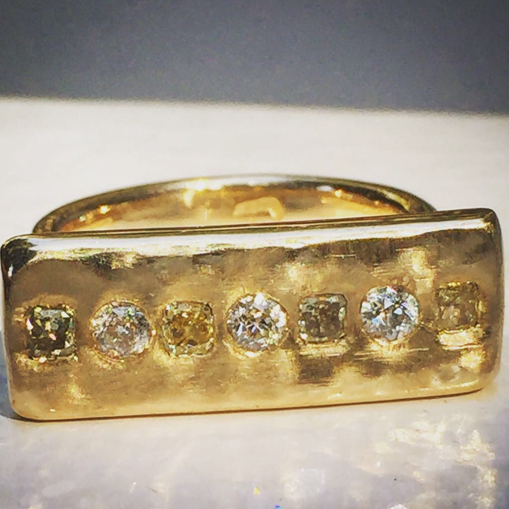 Gold Diamond Bar Ring