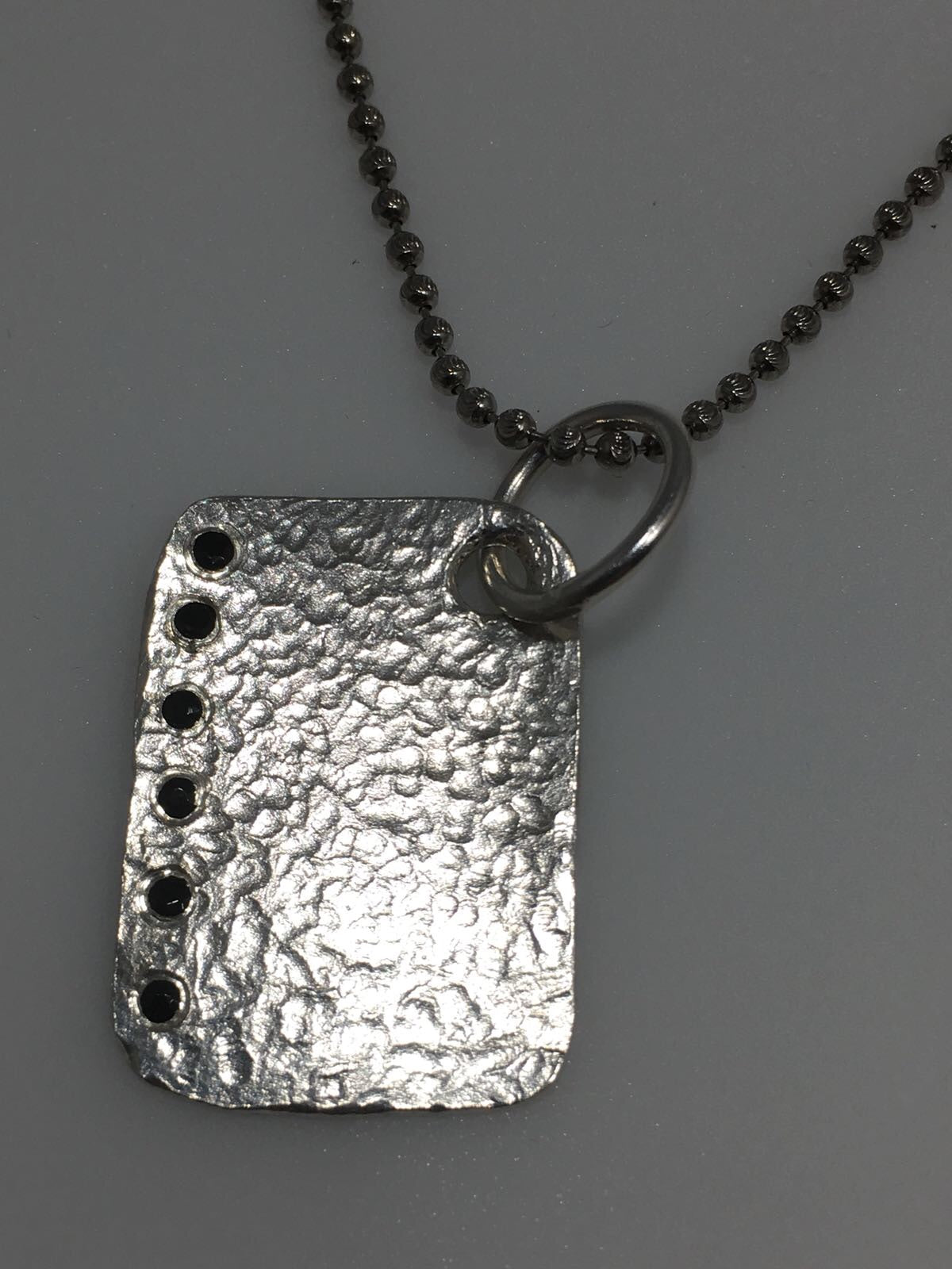 Sterling Silver Black Diamond Dogtag