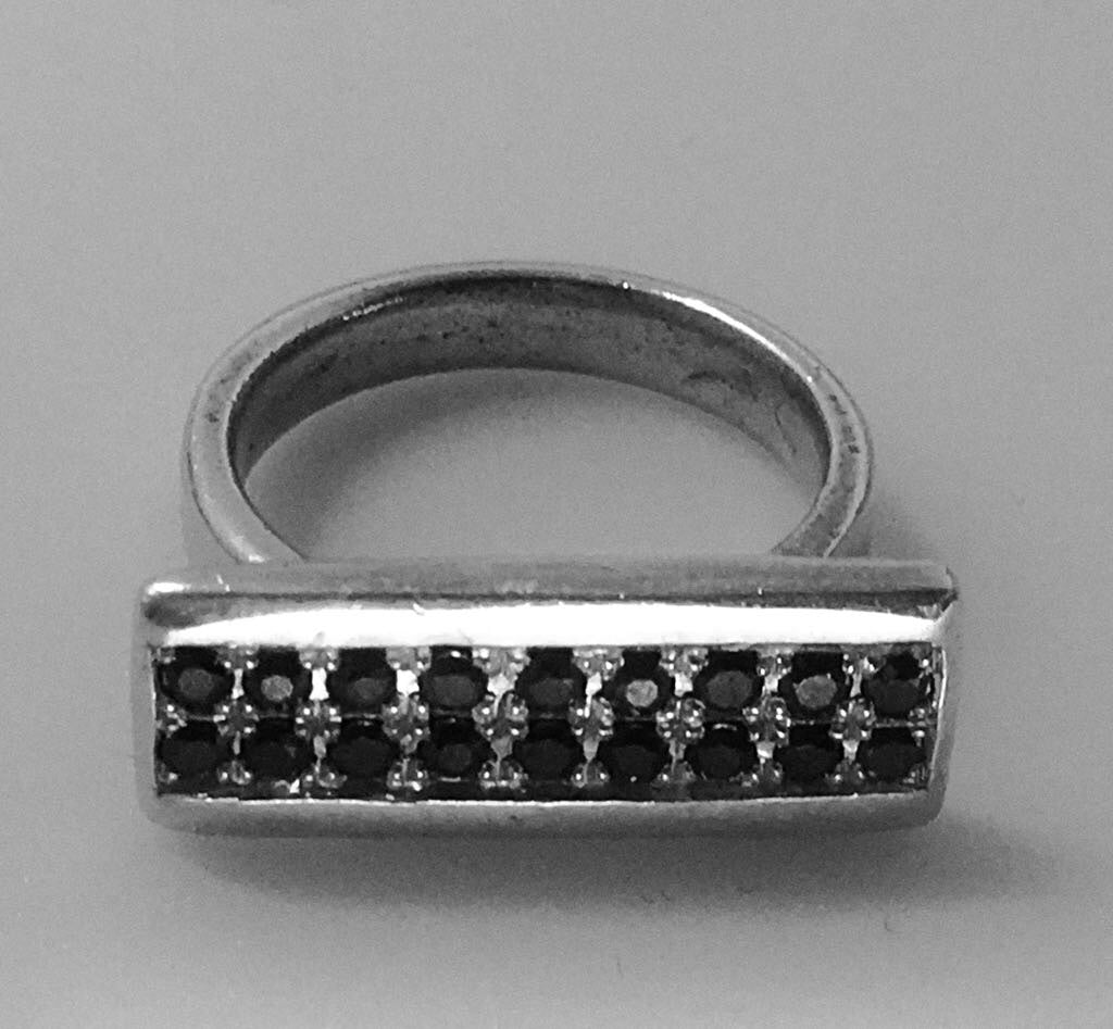 Black Diamond Bar Ring