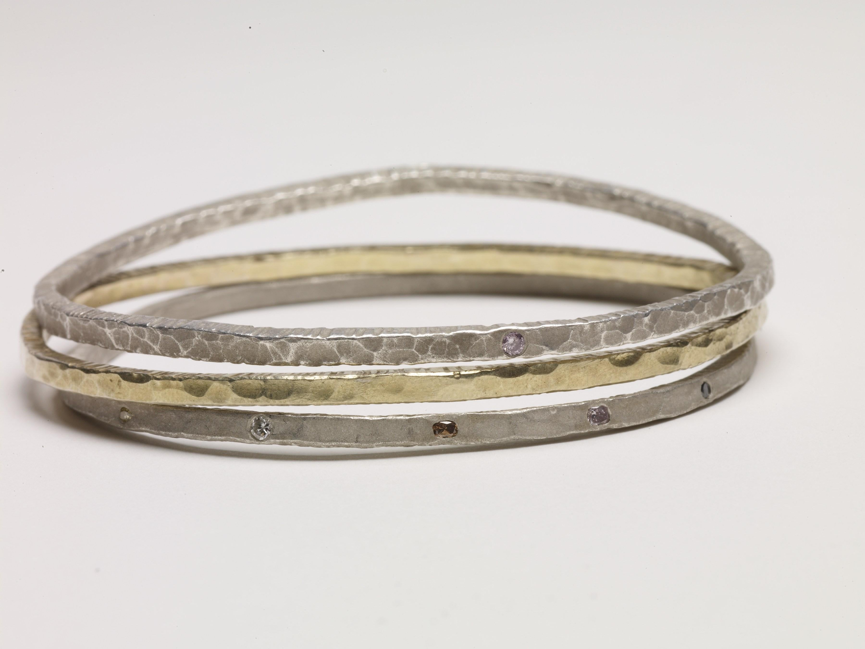 Sterling Silver Small Line Diamond Bangle Stack