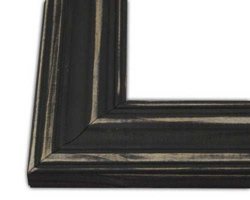 85 X 11 Black Wide Distressed Hand Made Picture Frame Hand Painted Shabby Chic Rustic Frame Decor