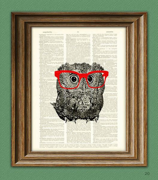 Owl Smarty Pants Nerdy Young Owl With Red Glasses Illustration Beautif U2013  Worldu0027s Best Prints