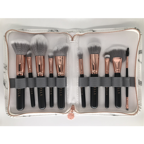 Miss Bella 10PC Marble Brush Black Pouch