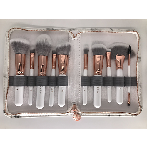 Miss Bella 10PC Marble Brush White Pouch