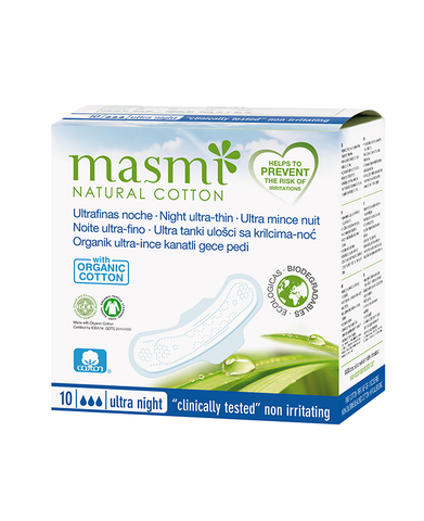 MASMI Ultrathin Sanitary Pads with Wings - NIGHT (10pcs)