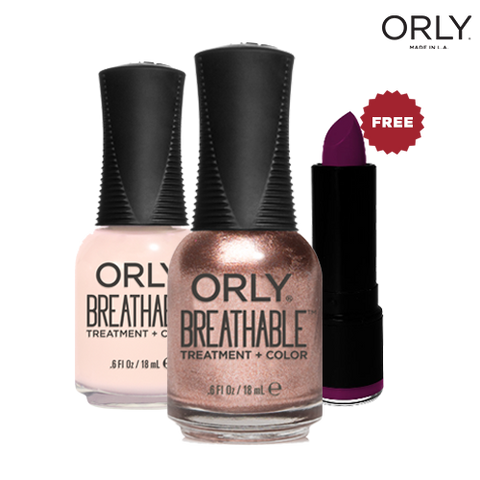 Orly Double Treat Breathable Lacquer Fairy Godmother + Rehab with Free MUW Lipstick Lisbon