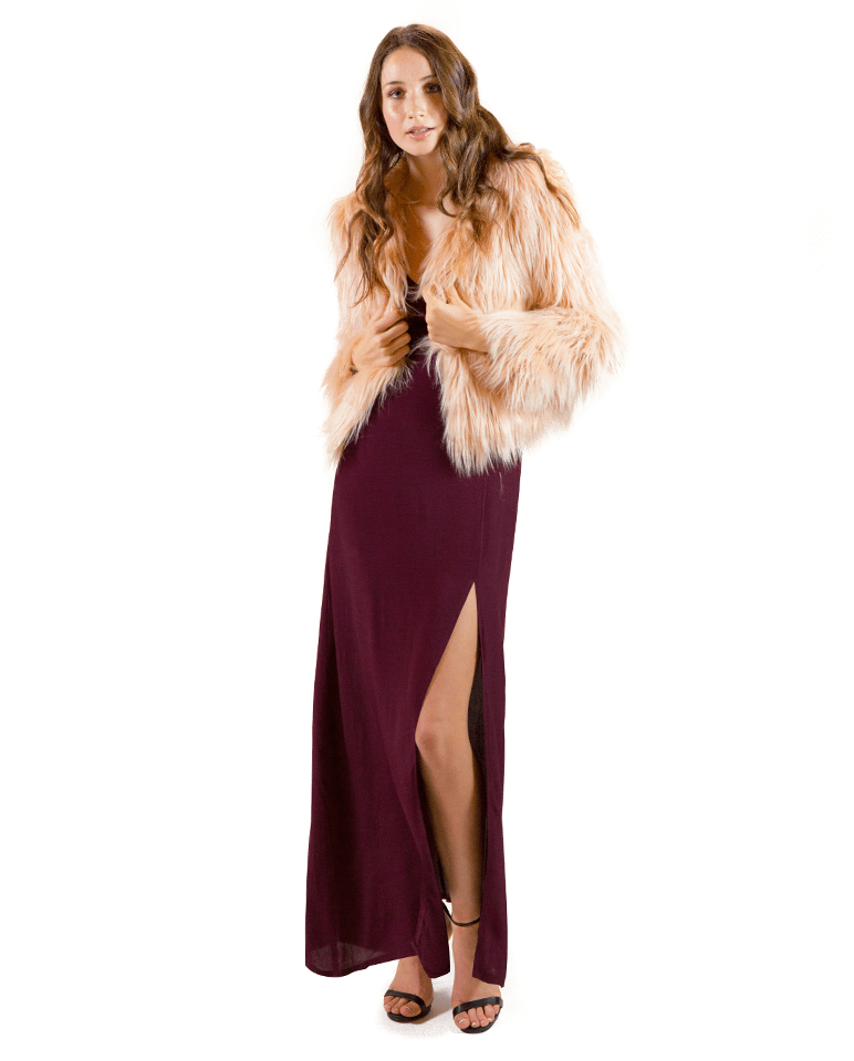 Lush Thigh Slit Strappy Long Gown