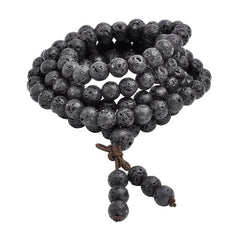 Natural Lava Rock Stone Healing 108 Buddhist Prayer Mala Bracelet Necklace