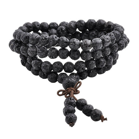 Natural Lava Rock Stone Healing 108 Buddhist Prayer Mala Bracelet Necklace - 4L-Creative