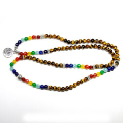 Chakra Tree of Life Tiger Eye 108 Bead Balance Meditation Mala