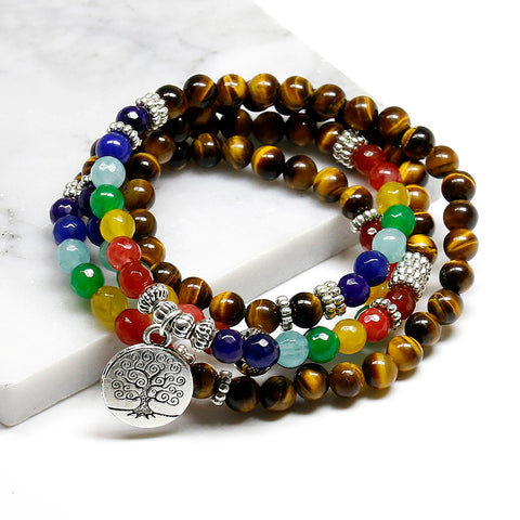 Chakra Tree of Life Tiger Eye 108 Bead Balance Meditation Mala - 4L-Creative