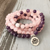 Image of 108 Beads Rose Quartz Amethyst Mala with Lotus Om Buddha Charms - 4L-Creative